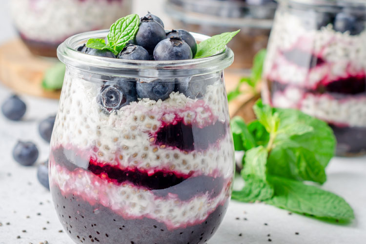 Blueberry Chia Protein Pudding