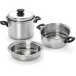 iCook® 4 Piece Steamer Boiler, Stock Pot Set